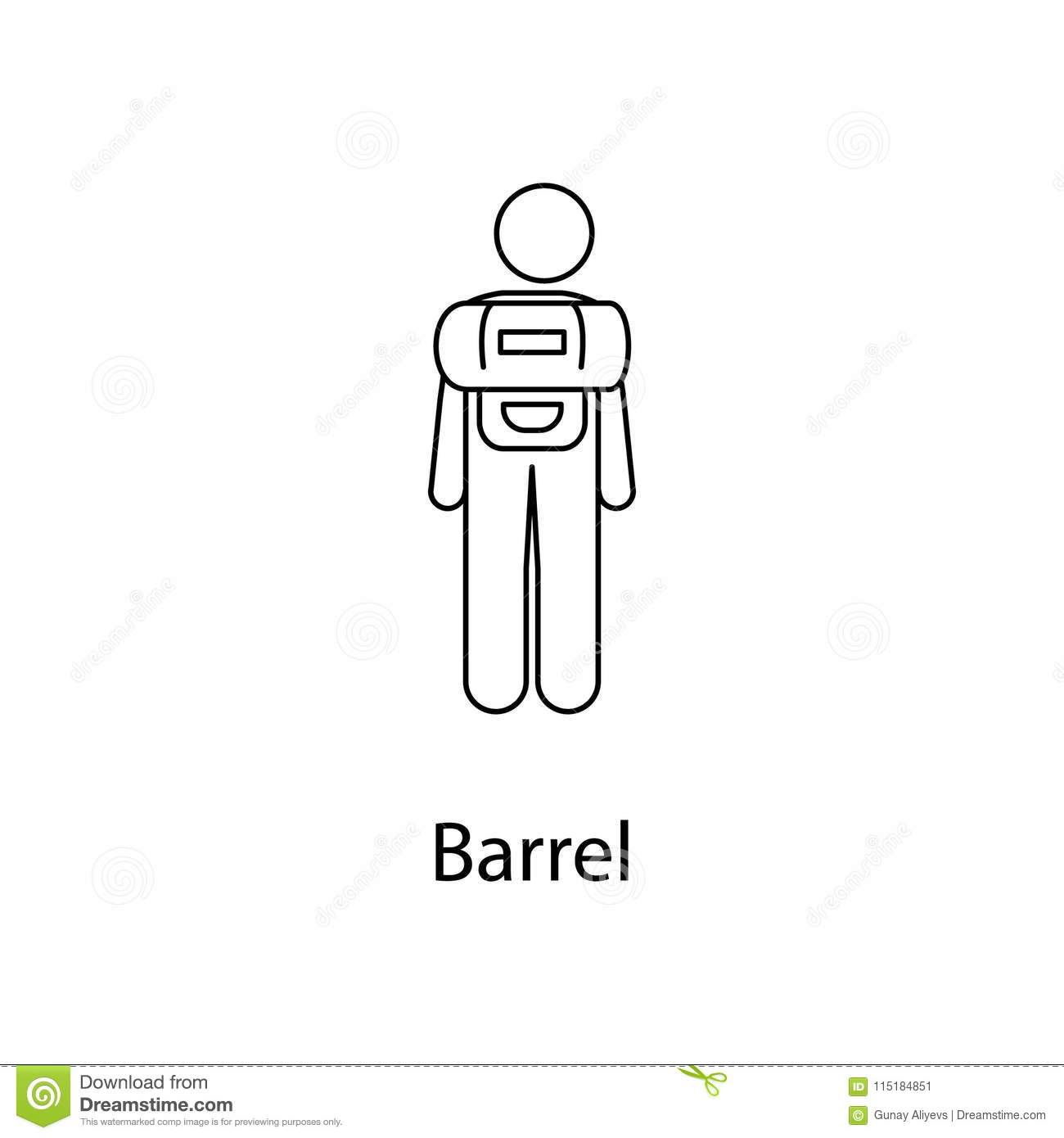 man with barrel illustration. Element of a person carries for mobile concept and web apps. Thin line man with barrel illustration