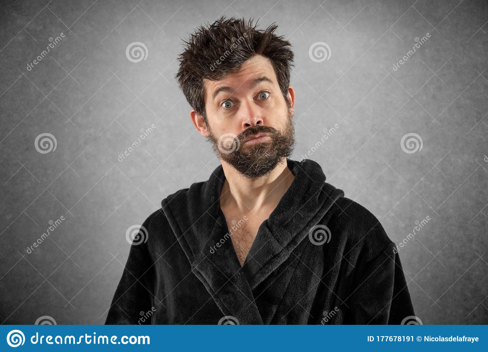Man In Bathrobe With Funny Hair And Funny Face Stock Image Image Of Space Depressed 177678191