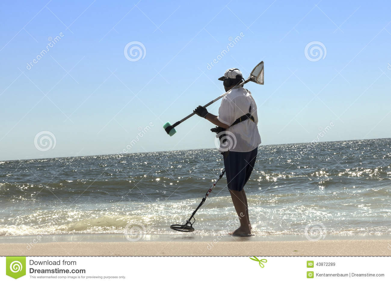 Jew Detector: Man At Beach With Metal Detector Stock Photo