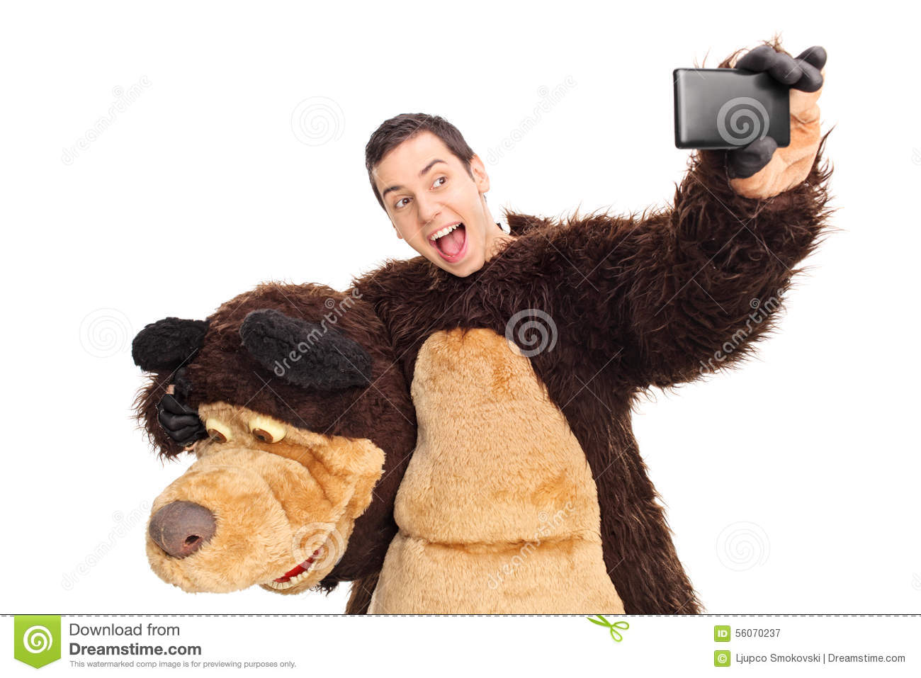 Man In A Bear Costume Taking A Selfie Stock Photo Image
