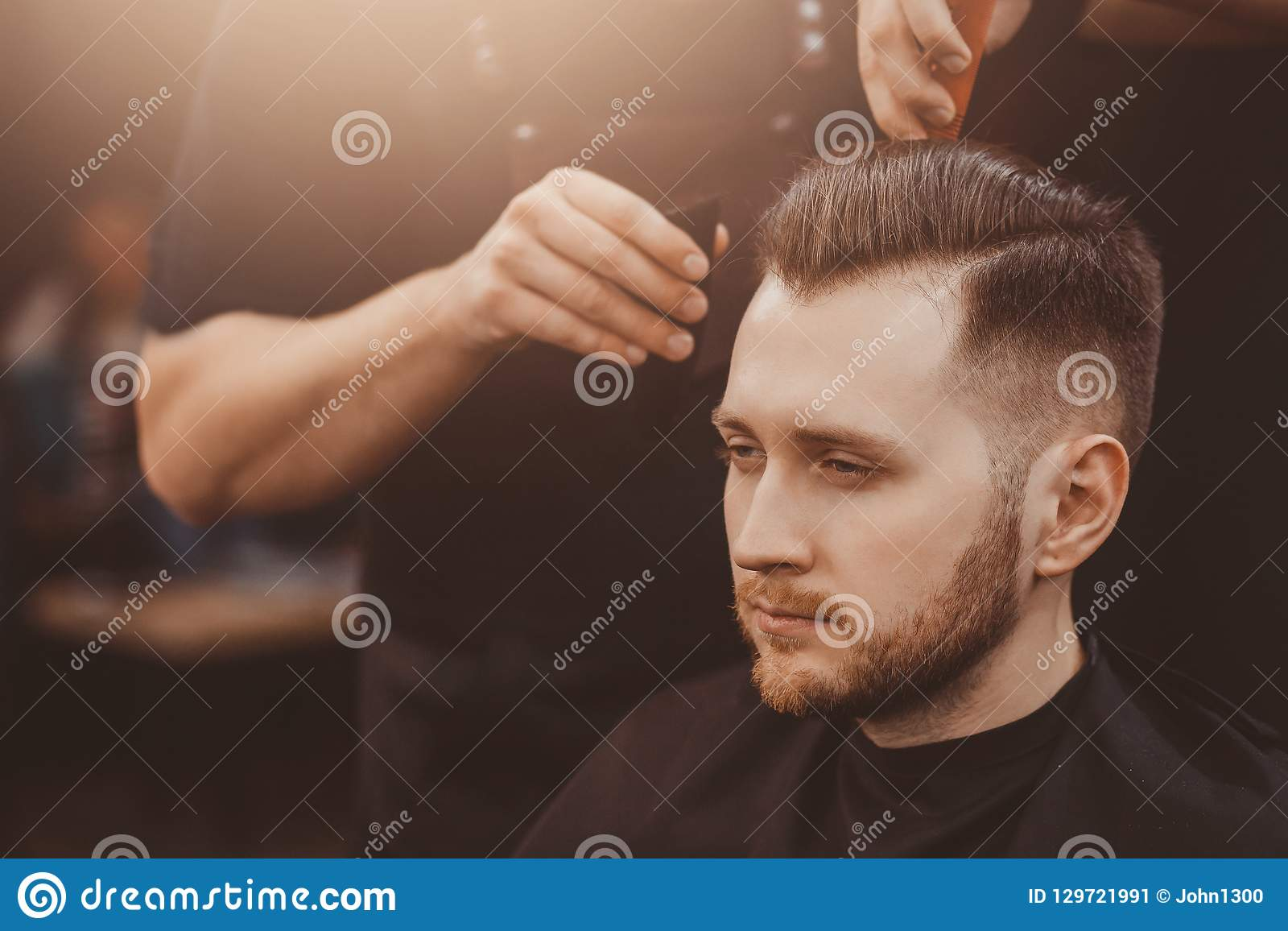 Man With Beard In Barber Shop Stock Image - Image of chin, clippers