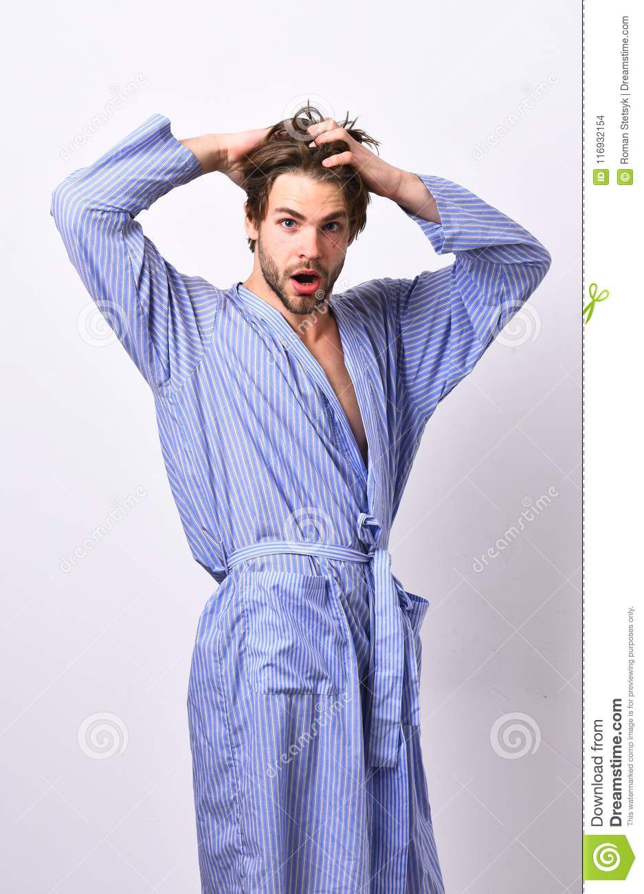 Man With Beard In Blue Dressing Gown On Grey Background. Stock Photo ...