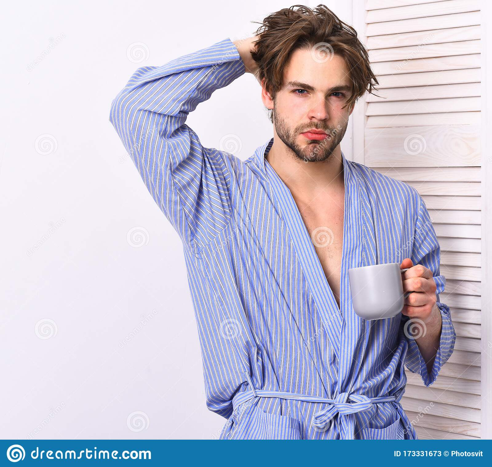 Man With Beard In Blue Dressing Gown On White Background Stock Image Image Of Bath Athlete 173331673