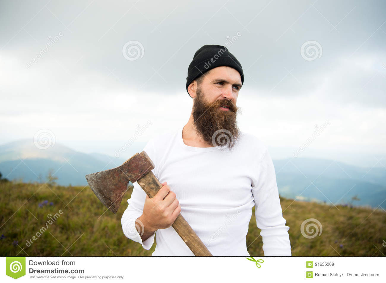 Awesome Man With Beard Holds Axe On Mountain With Cloudy Sky Stock Photo Schematic Wiring Diagrams Amerangerunnerswayorg