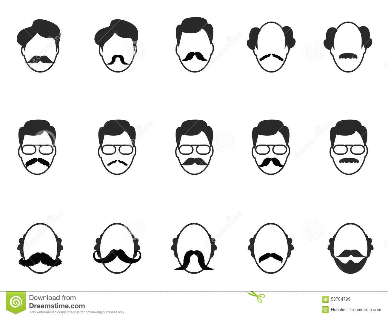Man With Beard And Mustache Icons Set Stock Vector Image