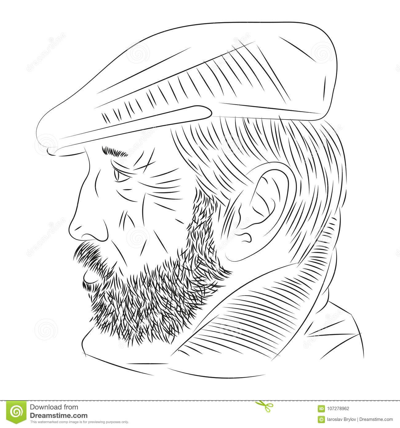 man with a beard in profile stock vector illustration of