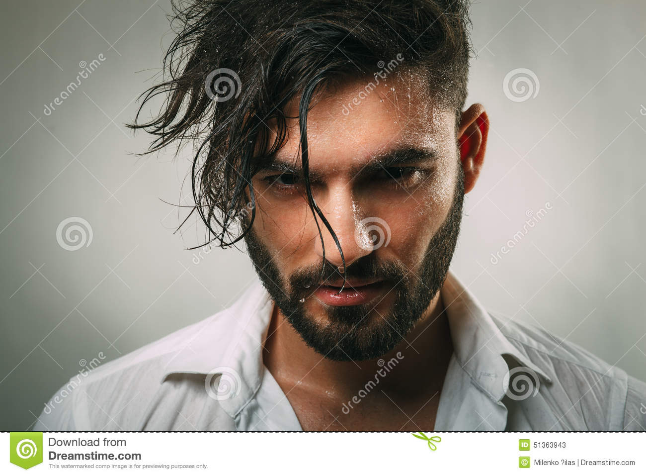 Man Beard Wet Portrait Attractive Stylish Young Guy Model