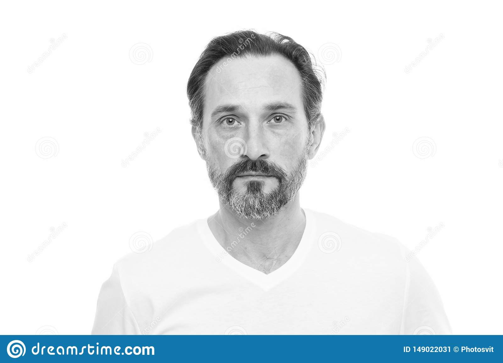 Man bearded guy with mustache white background. Facial hair grooming guide. Hipster handsome bearded attractive guy