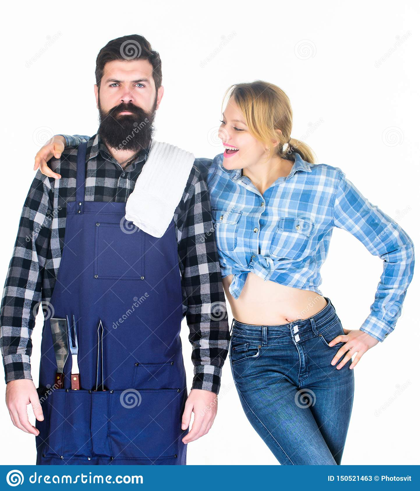 Man bearded hipster and girl. Preparation and culinary. Family weekend. Couple in love hold kitchen utensils. Tools for