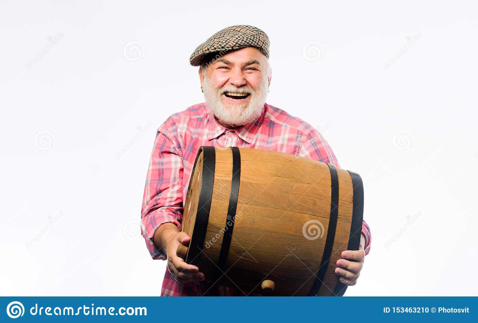 Man bearded senior carry wooden barrel for wine white background. Fermentation product. Natural wine made out of organic