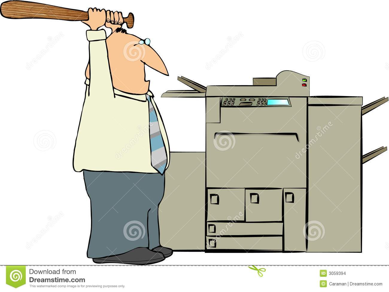 This illustration depicts a man about to hit a copy machine with a ...