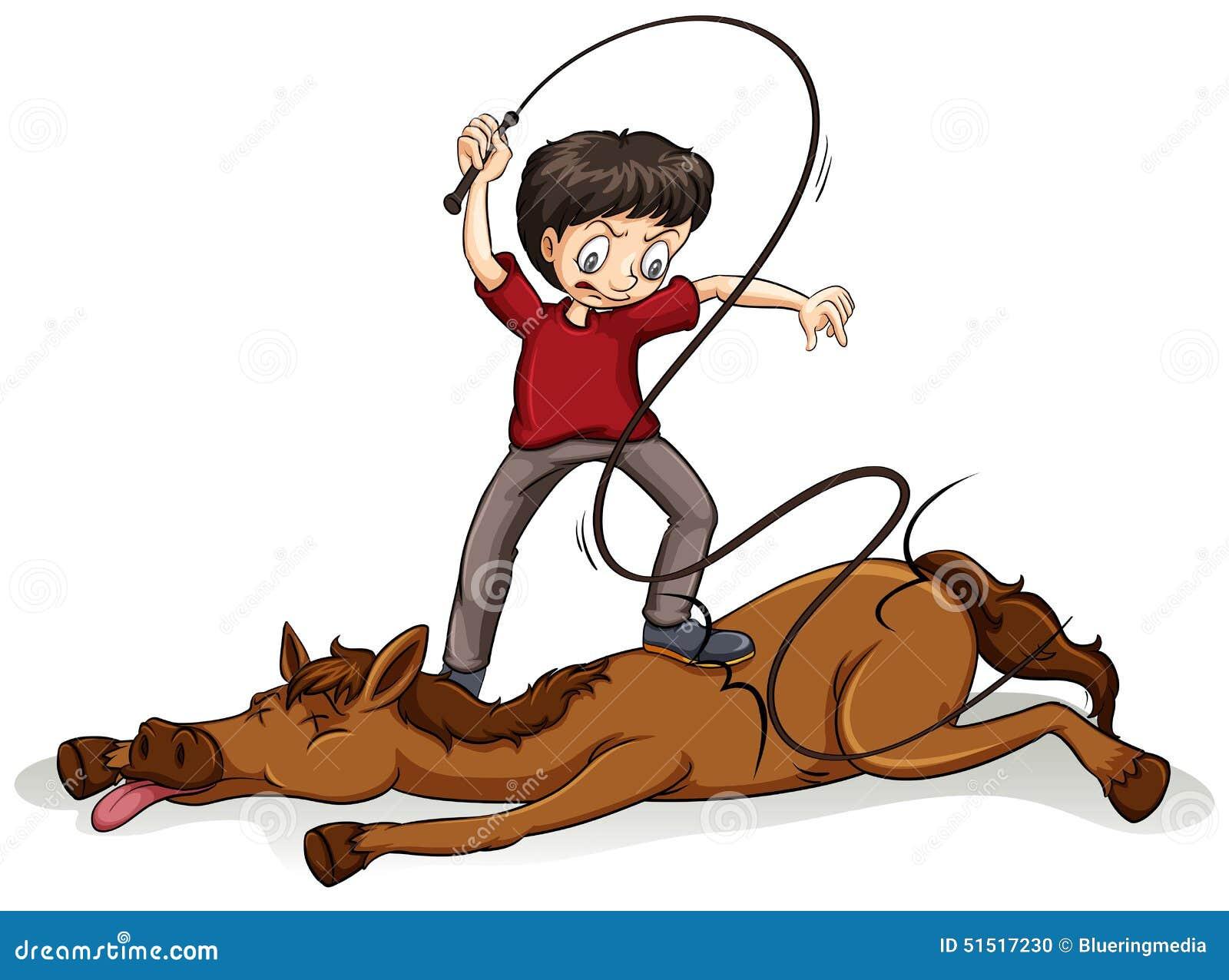 "Hrvatska postala problematično dete EU"" - Page 2 Man-beating-horse-rope-white-background-51517230"