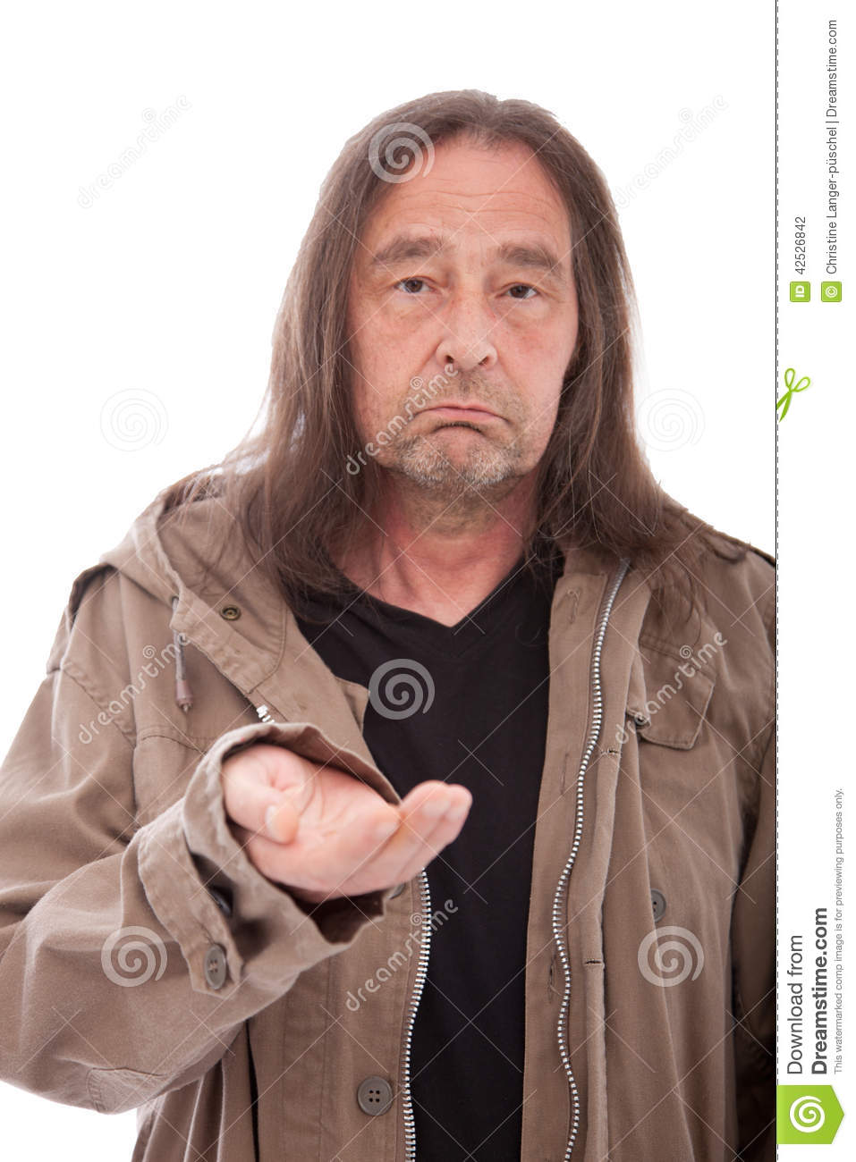 Man Begging For Money Food Or Help On White Stock Photo Image