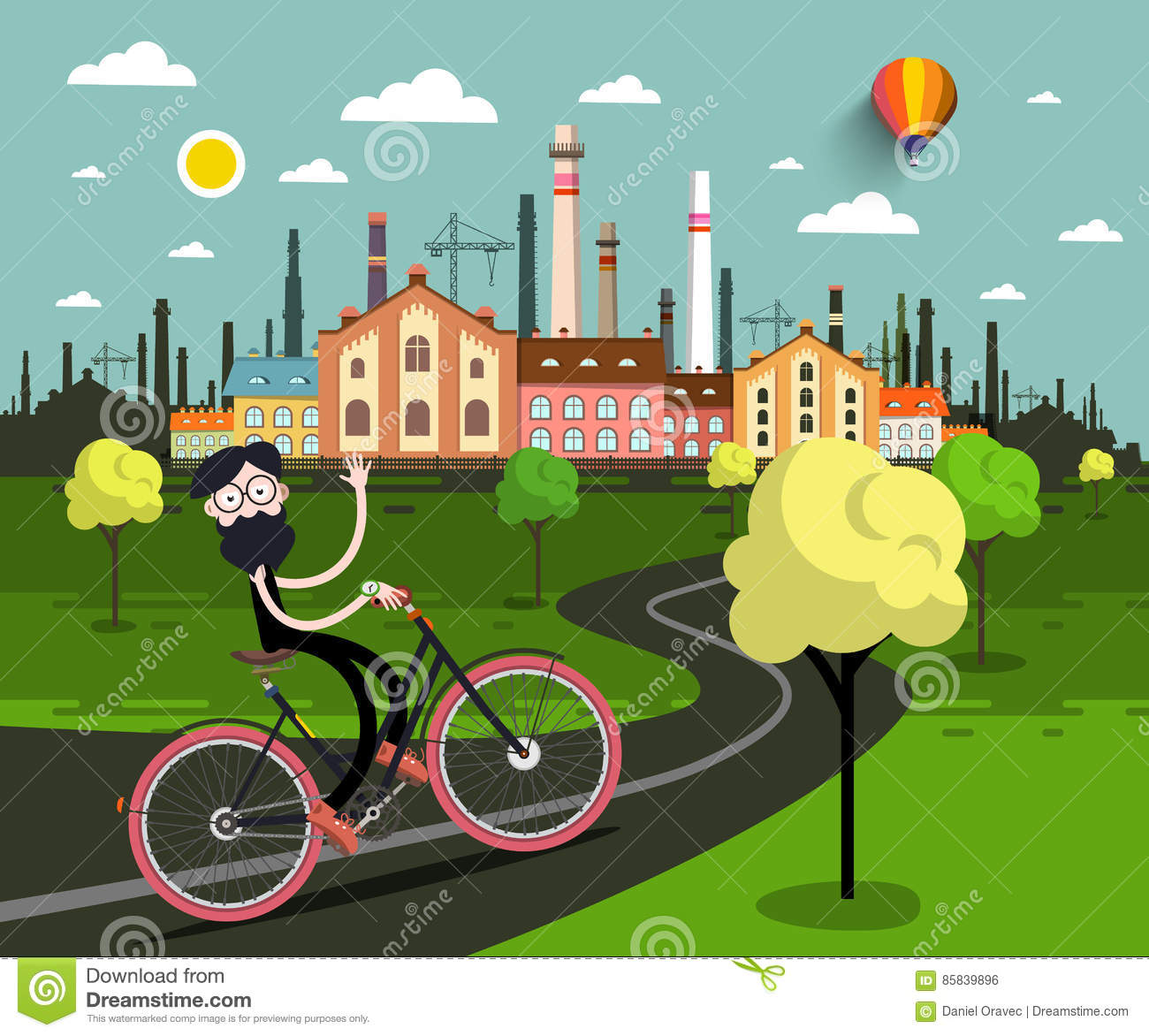 Man on Bicycle with Industrial