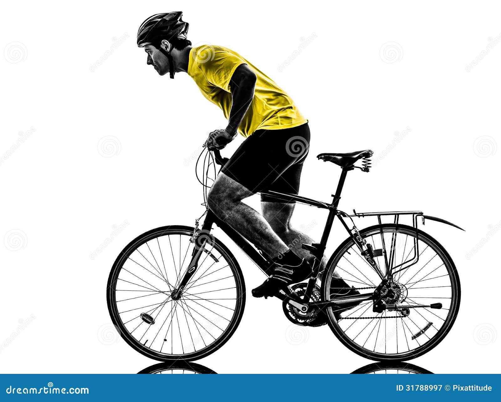 Man Bicycling Mountain Bike Silhouette Royalty Free Stock