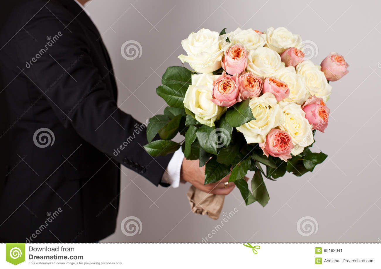 Man With Big Beautiful Bouquet Of Nice Flowers Stock Image Image