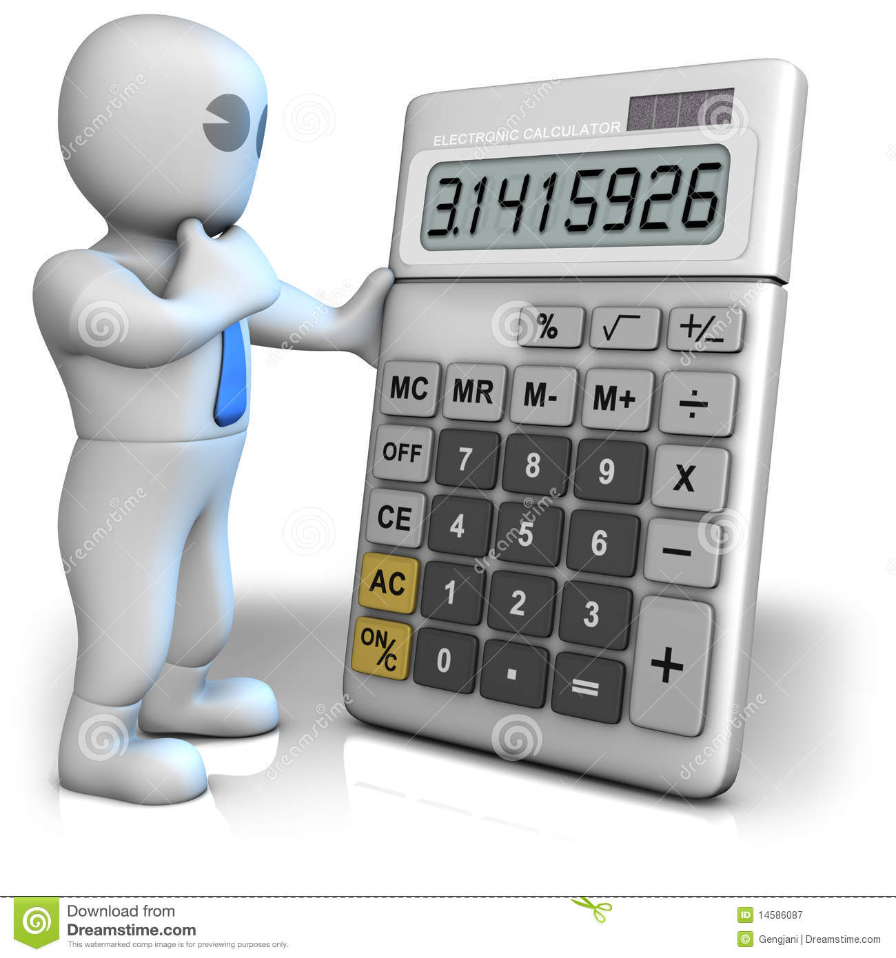 a man with a big calculator which shows pi number stock illustration