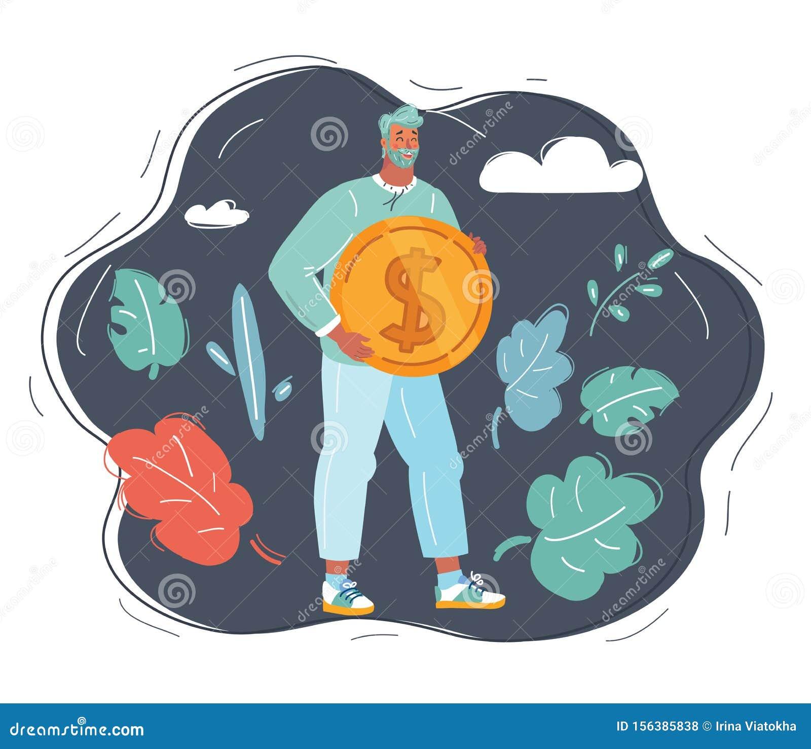 Man with big dollar coin.