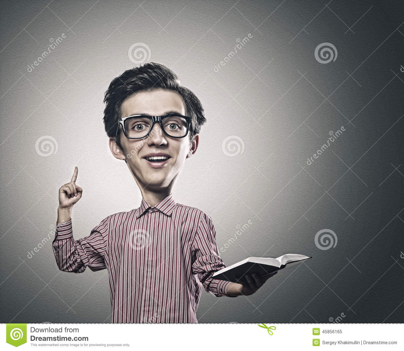 718762f784 Man with big head stock image. Image of education