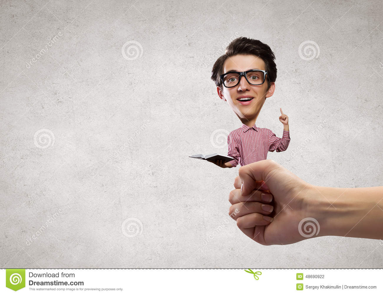 507095441f Man with big head stock photo. Image of shirt