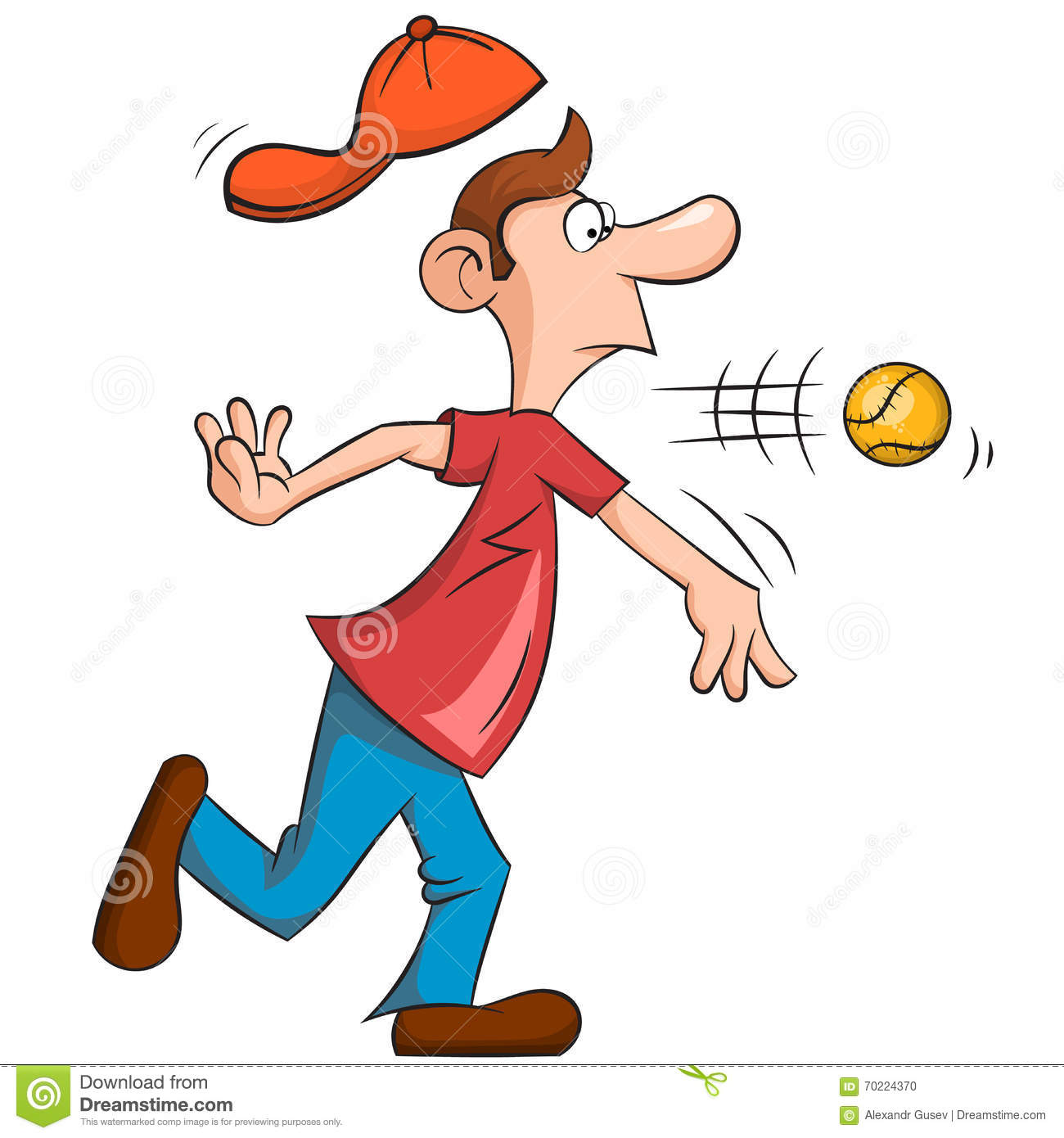Cartoon Characters With Big Noses : Man with a big nose playing baseball stock vector