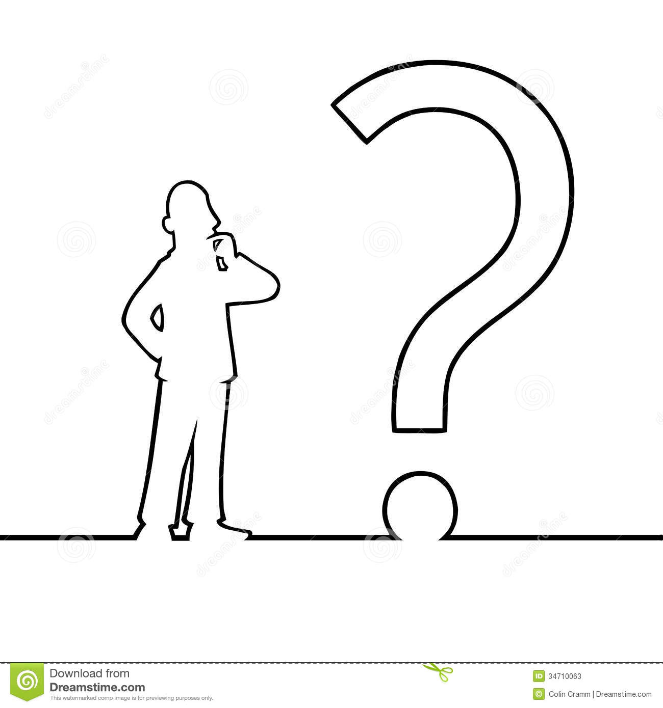Line Drawing Question Mark : Man with big question mark stock photos image