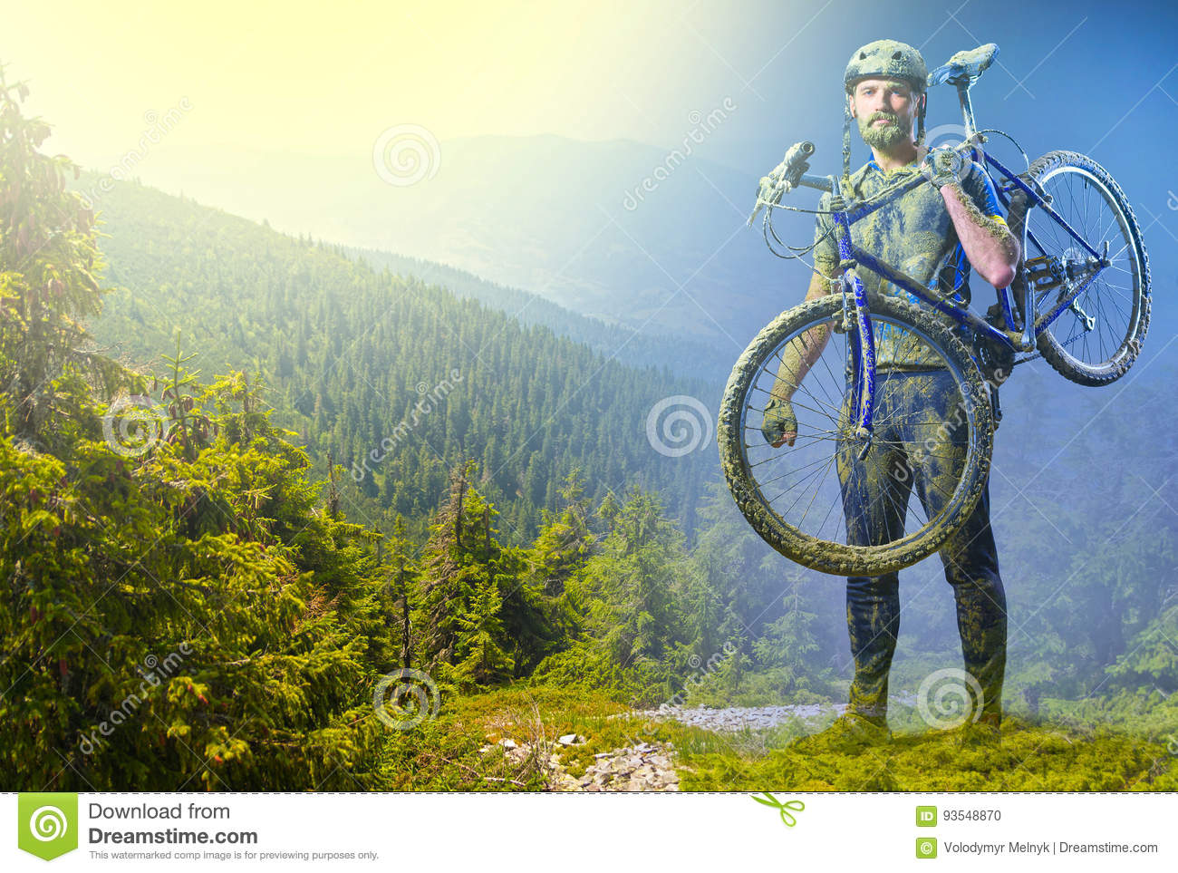 The Man With Bike In Sand Standing On Mountains Background. Collage ...