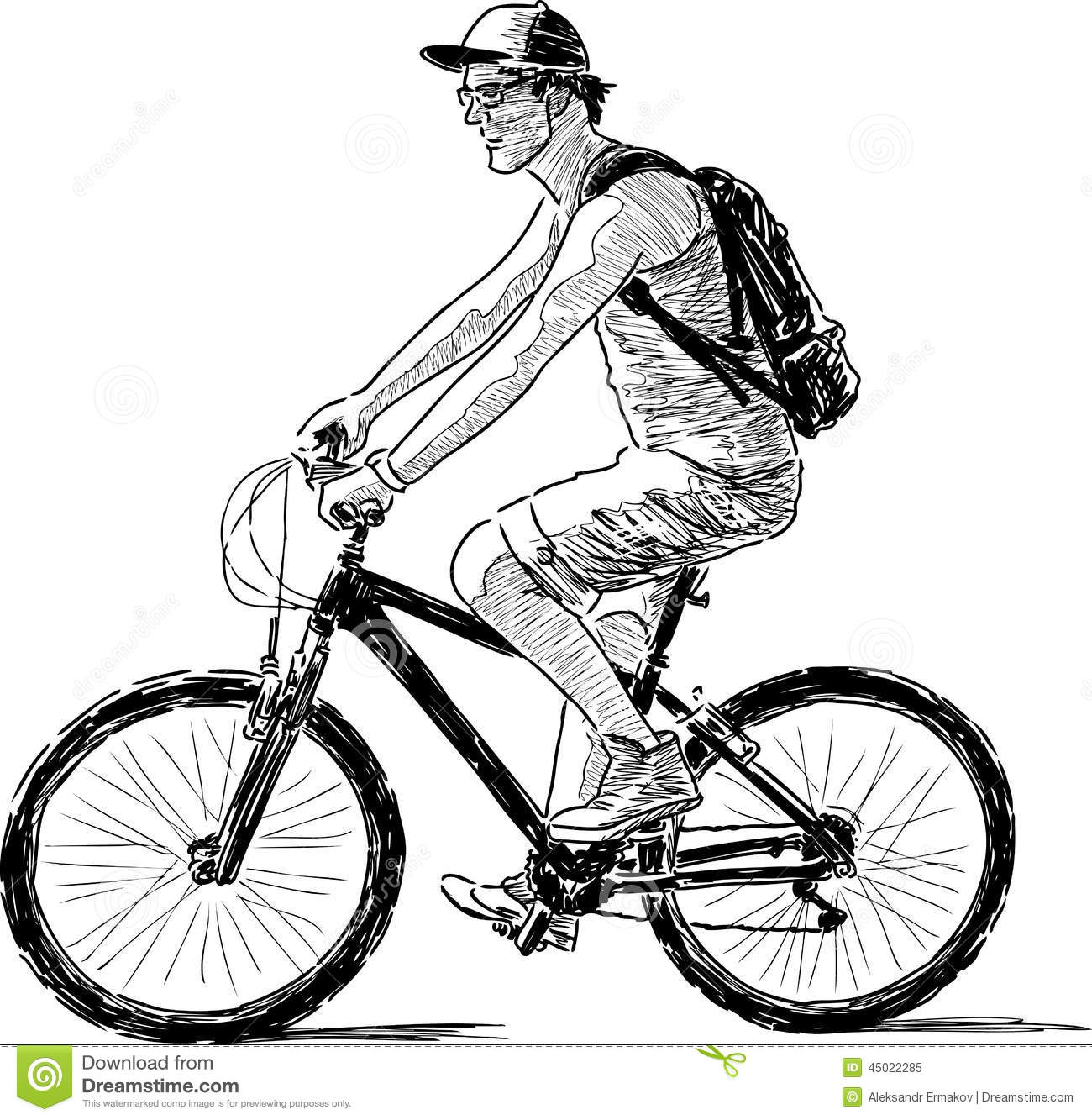 Man on the bike stock vector. Image of transportation ...
