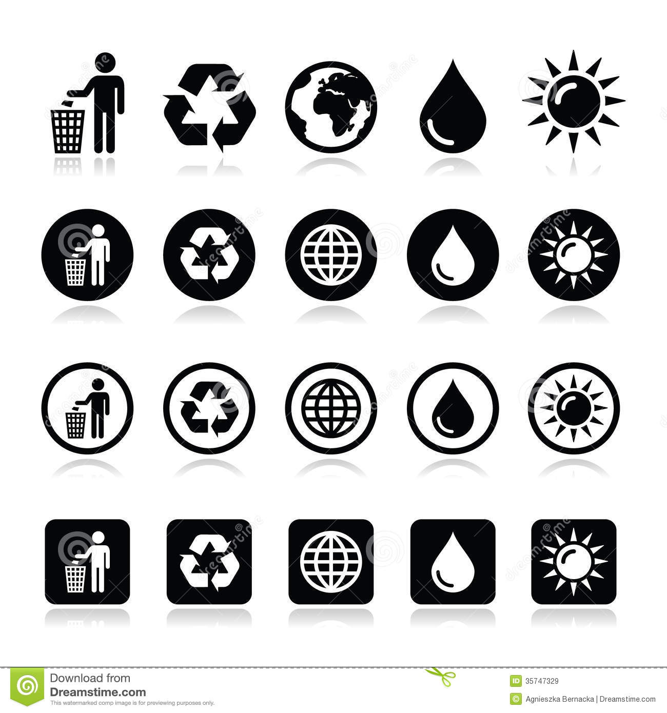Man And Bin Recycling Globe Eco Power Icons Set Royalty