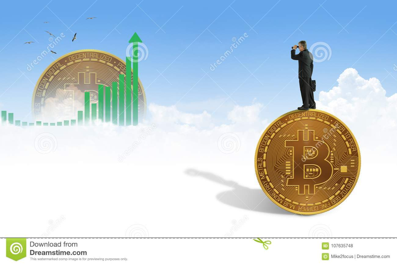 Man with binoculars standing on giant bitcoin seeking financial success with cryptocurrency