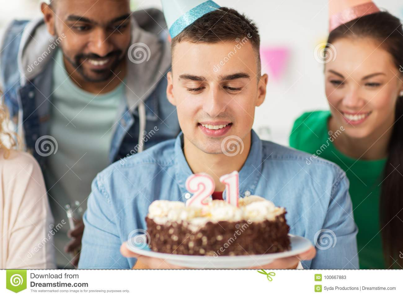 Pleasing Man With Birthday Cake And Team At Office Party Stock Image Funny Birthday Cards Online Inifofree Goldxyz