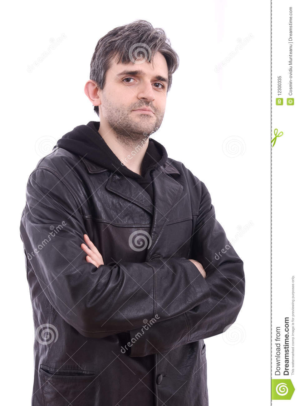 Man in black black leather jacket with hood