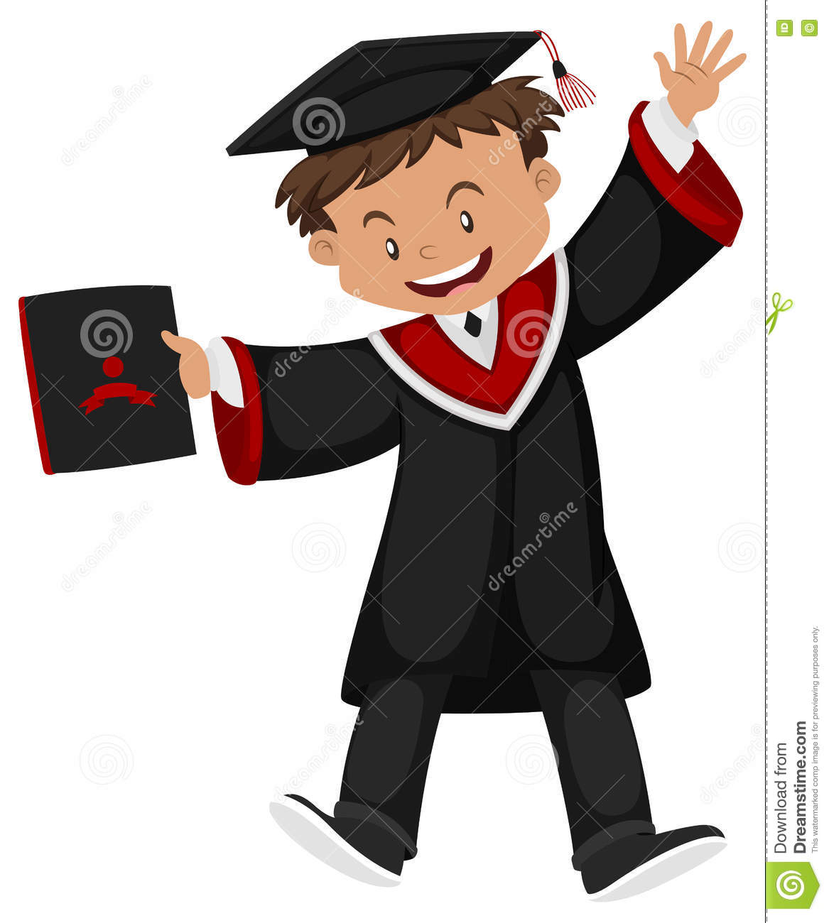 Man In Black Graduation Gown With Cap Stock Vector - Illustration of ...