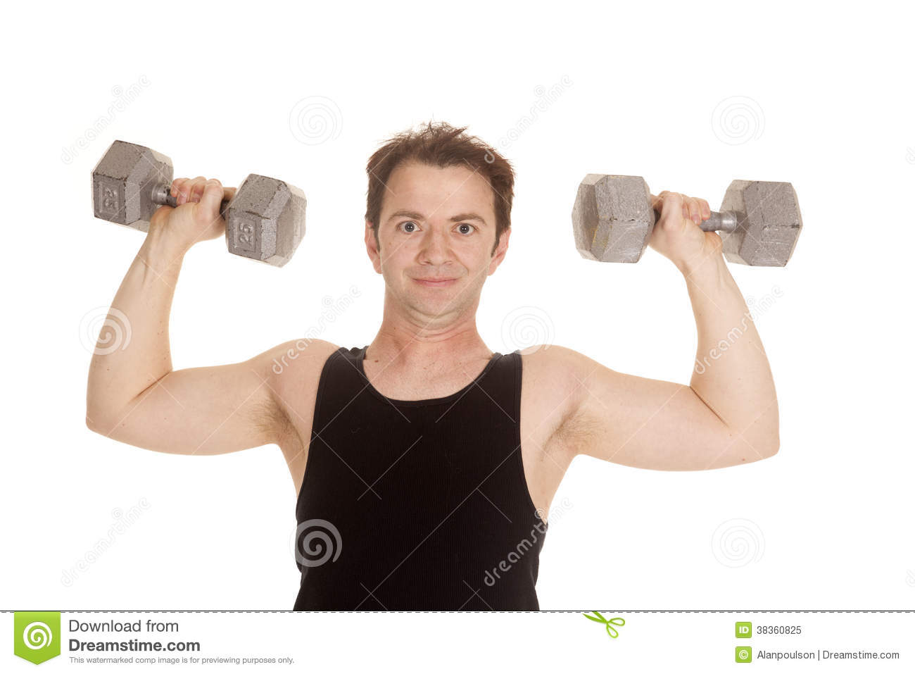 Man Black Tank Top Weights Flex Royalty Free Stock Photo ...