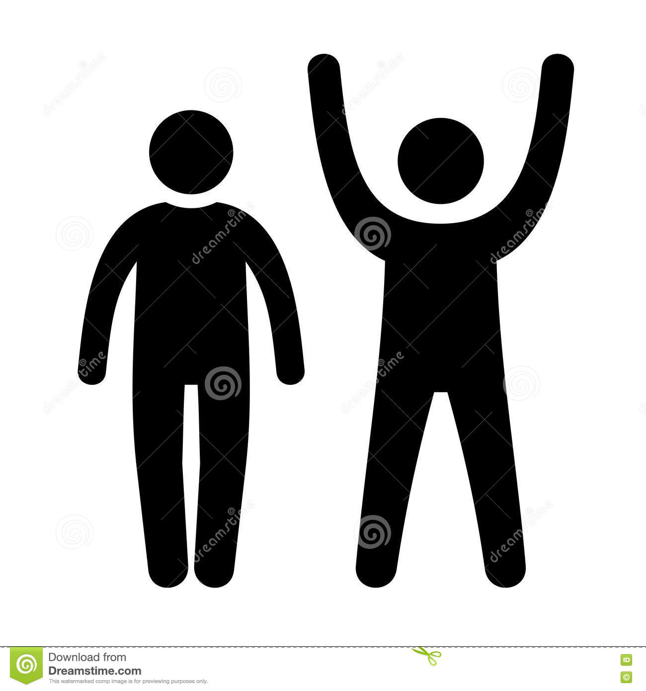 Man Black Web Icon With Up And Down Hands Vector Stock