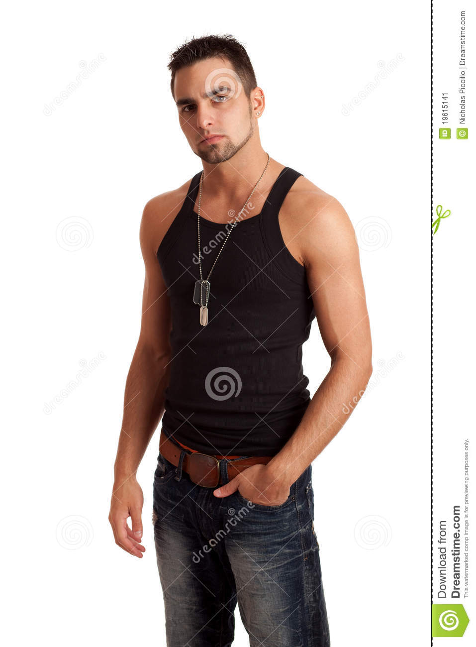 Man In BlackShirt And Jeans Stock Image - Image: 19615141