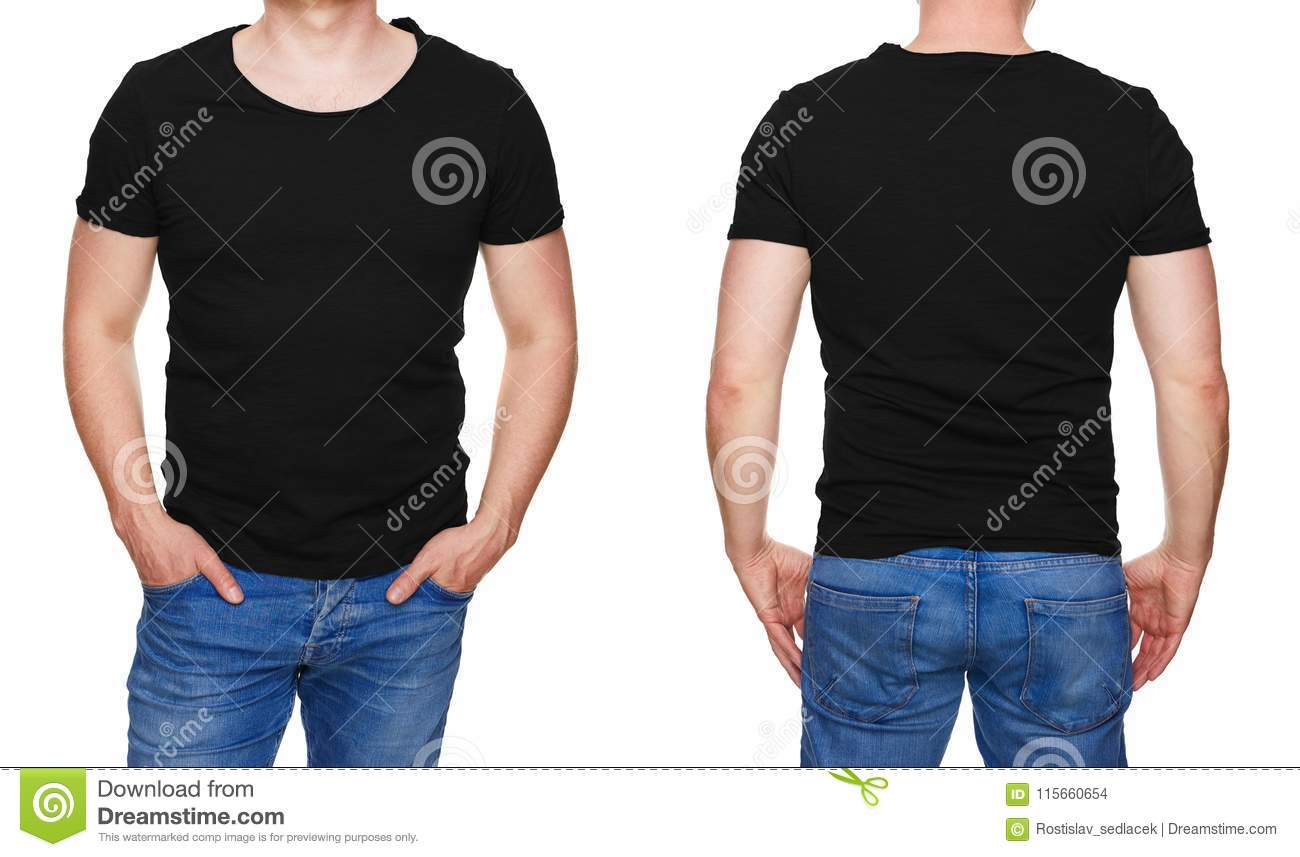 Man in blank black tshirt front and rear isolated on white