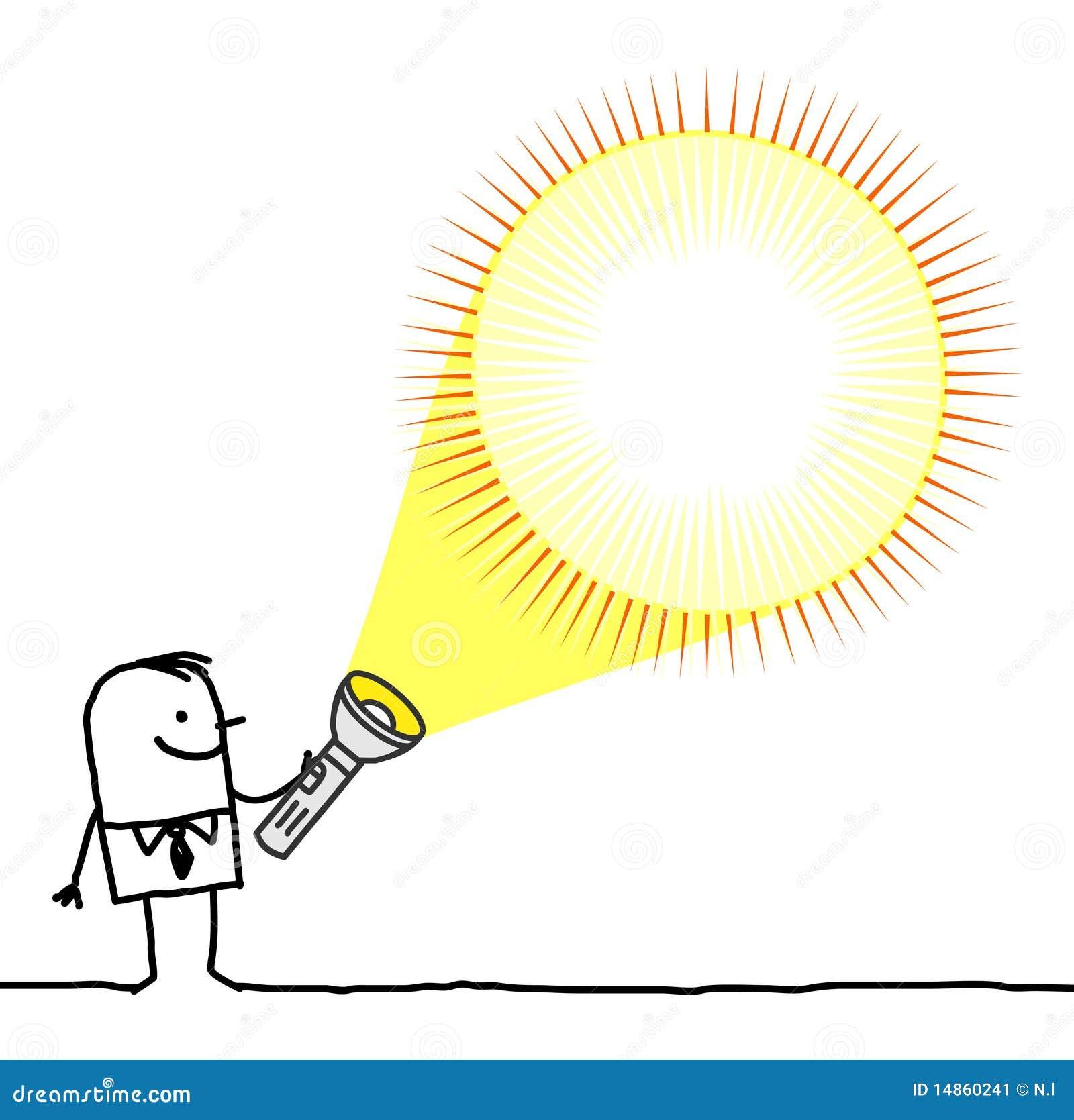 Man with blank flashlight