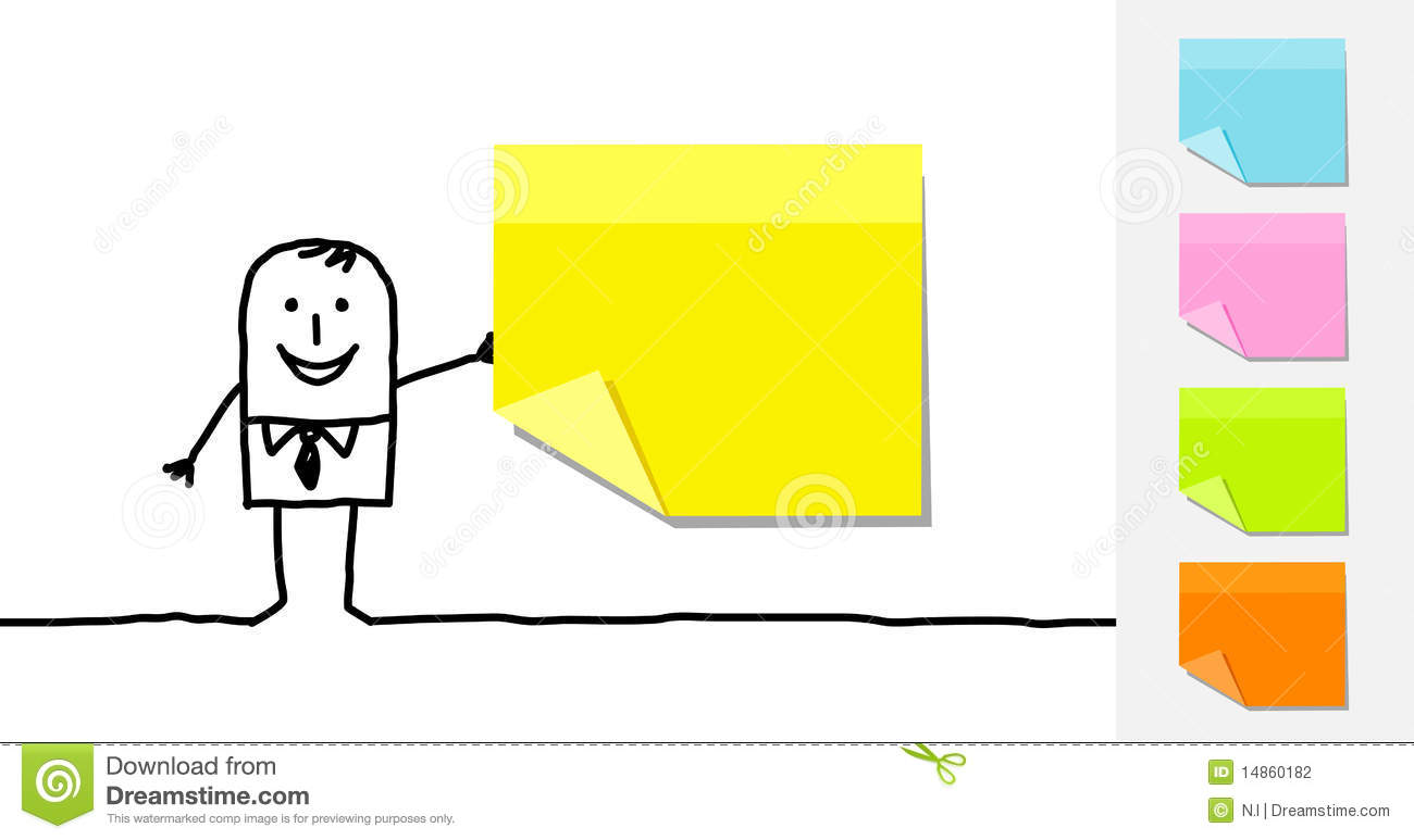Man and blank sticky notes