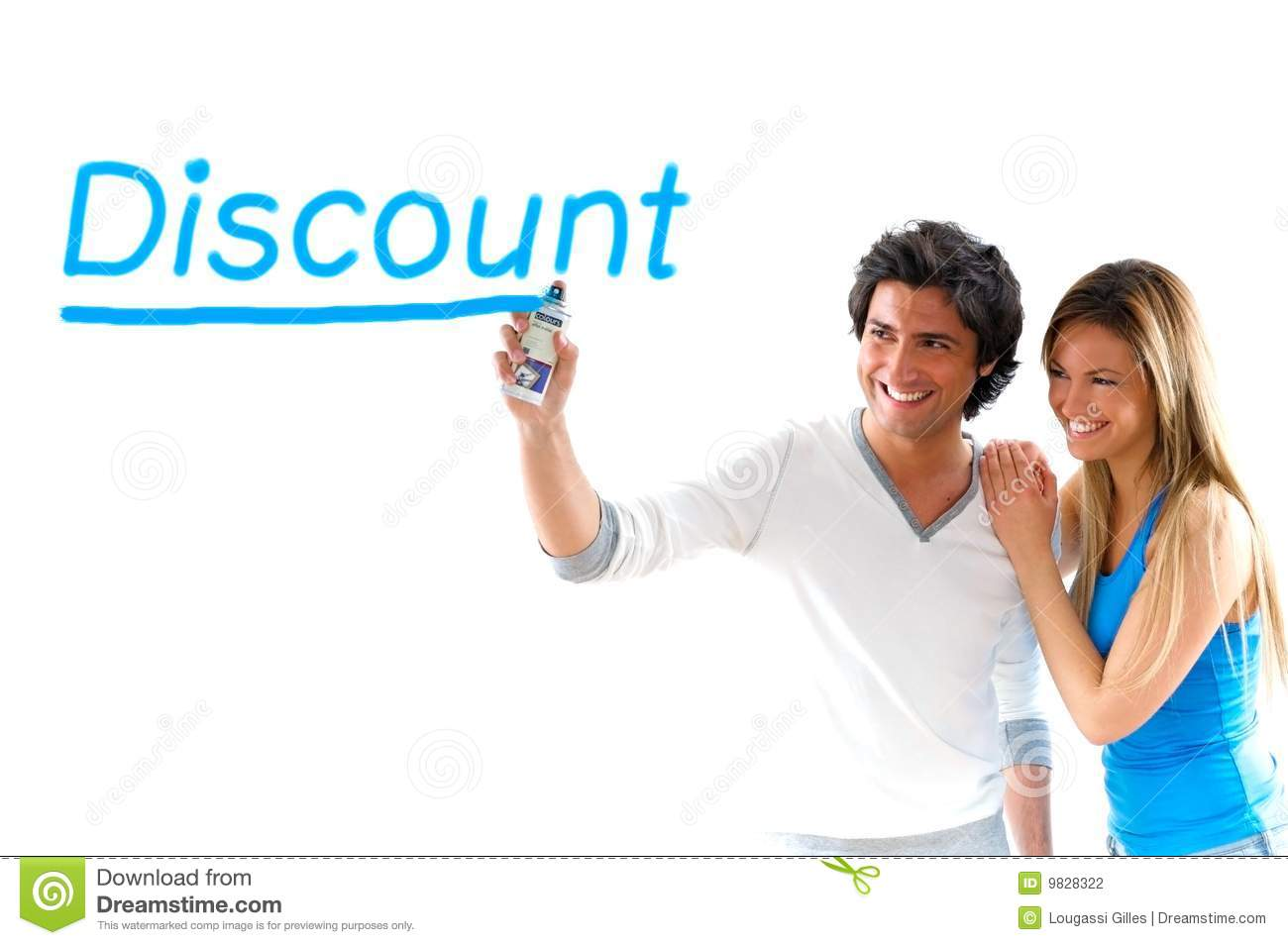 Man and blond girl writing discount