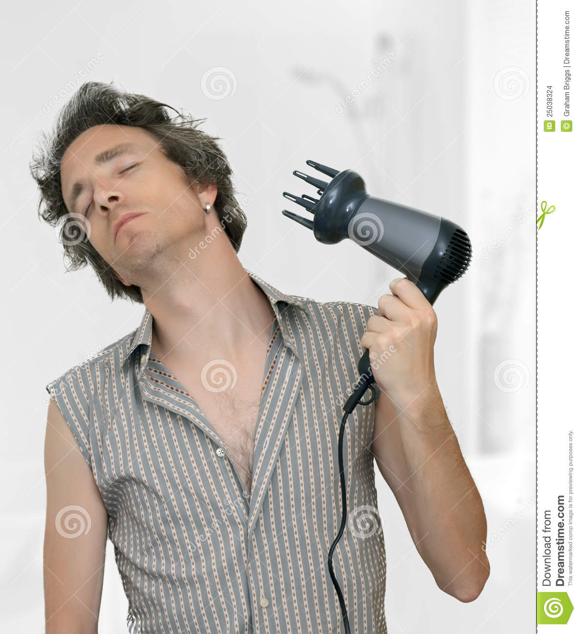 Man Blow Drying His Hair Stock Photo Image Of Care Adult 25038324