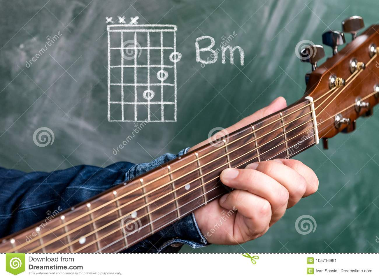Man Playing Guitar Chords Displayed On A Blackboard Chord B Minor