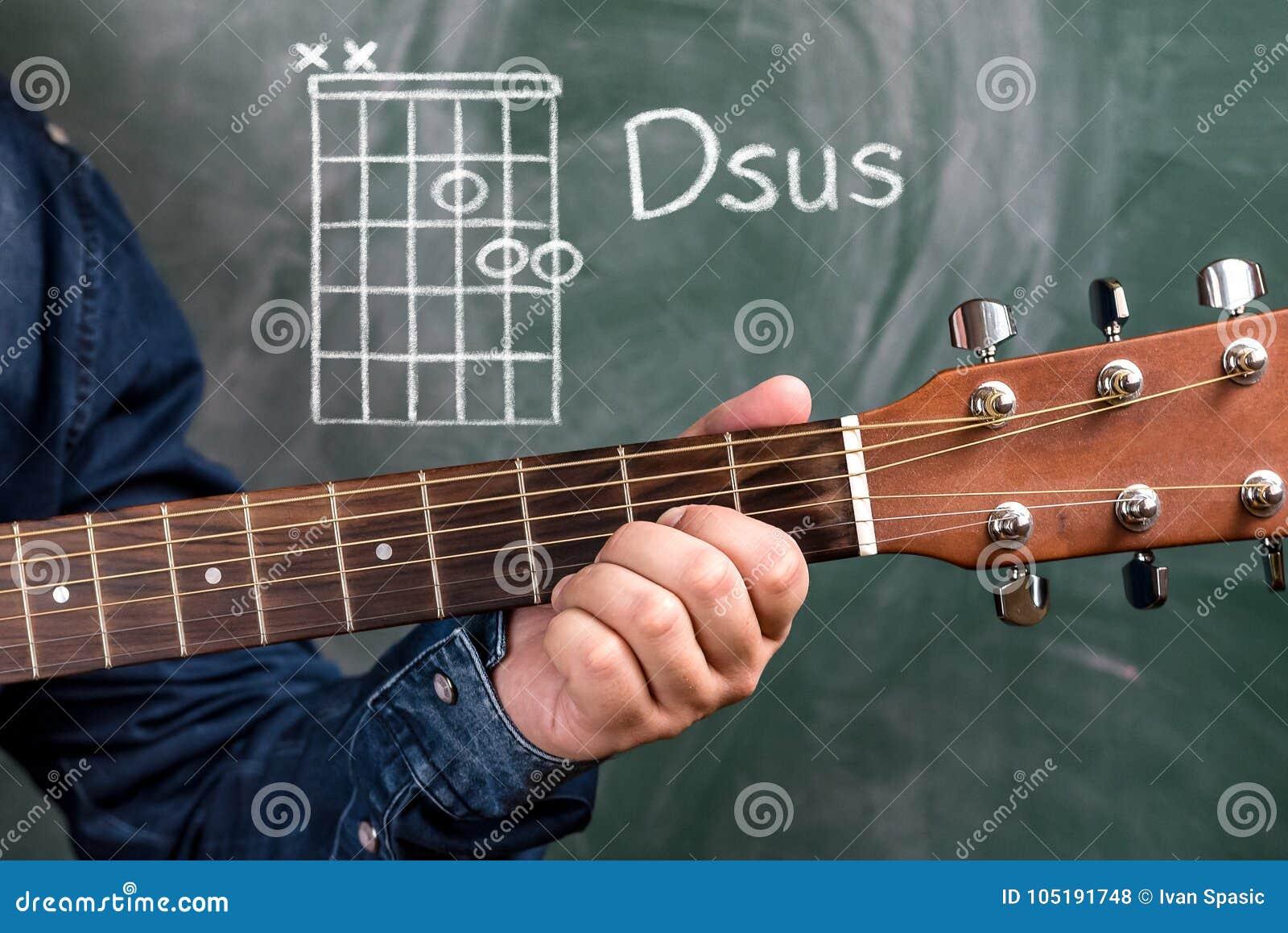 Man Playing Guitar Chords Displayed On A Blackboard Chord Dsus