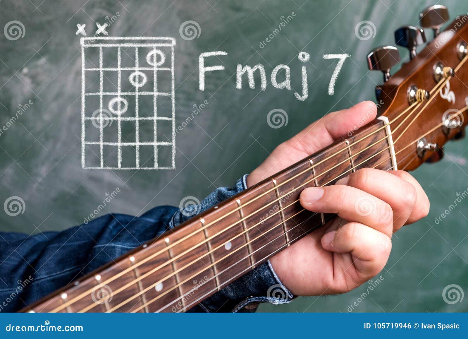 Man Playing Guitar Chords Displayed On A Blackboard Chord F Major 7