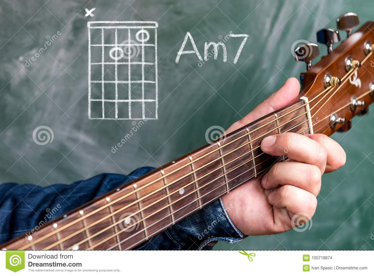 Man Playing Guitar Chords Displayed On A Blackboard Chord A Minor 7