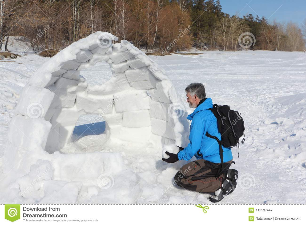 Man In A Blue Jacket Building An Igloo On A Glade Stock