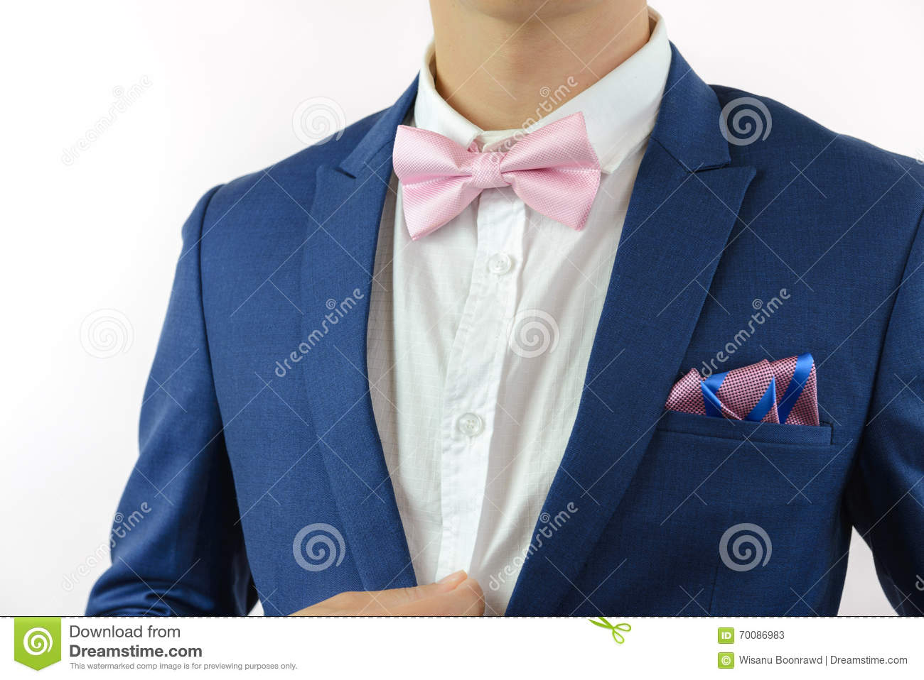 9ee93b495f9f Man In Blue Suit Bowtie, Pocket Square Stock Image - Image of gold ...