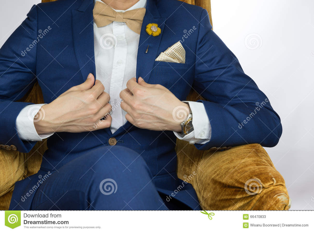 Awesome Man Blue Suit Sitting On Cozy Sofa Stock Image Image Of Machost Co Dining Chair Design Ideas Machostcouk