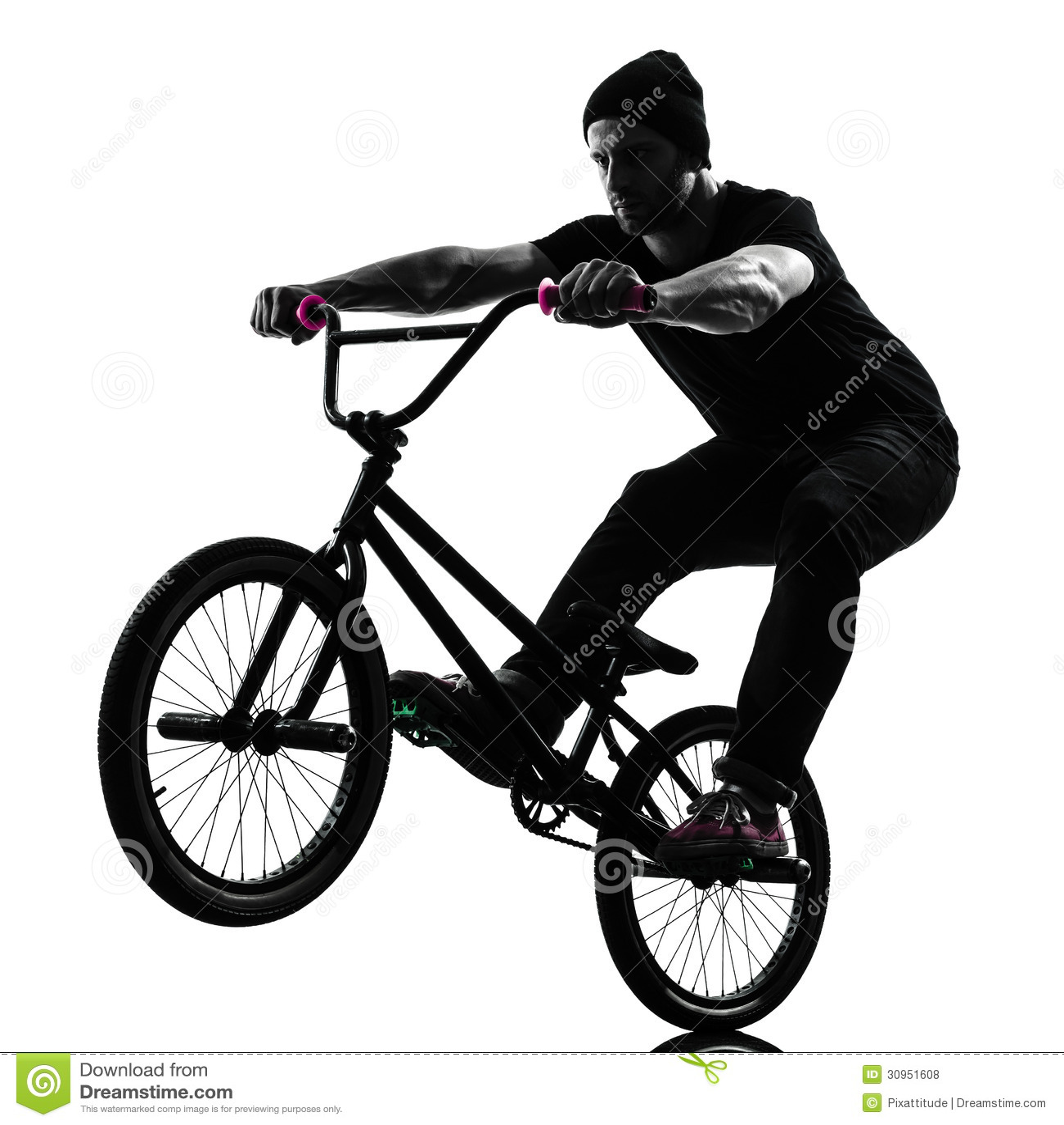 Man Bmx Acrobatic Figure Silhouette Royalty Free Stock