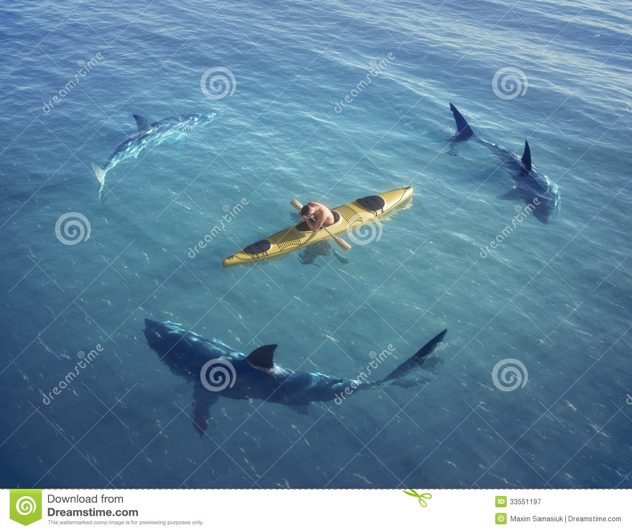Royalty Free Stock Photography: A man in a boat, kayak. was trapped in ...